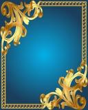 Blauw frame als achtergrond met goud (en) Stock Foto's