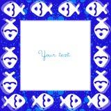 Blauw frame met vissen Stock Foto