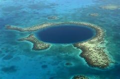 Blauw Gat, Belize (lucht) Stock Foto's