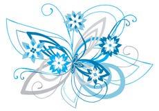 Blauw gebogen bloemenornament royalty-vrije illustratie
