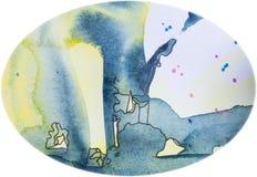 Blauw geel ei. Waterverf ei-vormige achtergrond stock illustratie