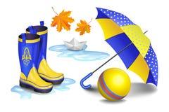 Blauw-geel gumboots, de paraplu van kinderen, stuk speelgoed bal, dalende bladeren vector illustratie