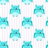 Blauw-gekleurde knipogende uilen Stock Foto's