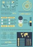 Blauw-gele informatieelementen Stock Foto