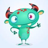 Blauw gelukkig beeldverhaalmonster Blauw vector vreemd karakter Halloween-ontwerp vector illustratie
