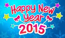Blauw Gelukkig Nieuwjaar 2015 Begroetend Art Paper Card Royalty-vrije Stock Fotografie