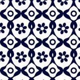 Blauw geometrisch patroon van abstracte bloem Stock Foto
