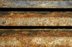 Blauw geschilderd metaal met roest… Stock Foto