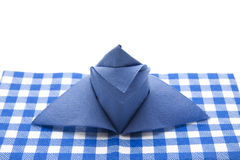 Blauw gevouwen servet Stock Foto