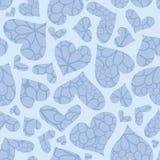 Blauw geweven harten vector naadloos patroon royalty-vrije stock fotografie