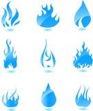 Blauw glanzend brandpictogram. Grote reeks Stock Afbeeldingen