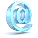 Blauw glanzend e-mailsymbool op een witte achtergrond Royalty-vrije Stock Foto's