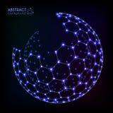 Blauw glanzend kosmisch hexagonaal net vector glanzend gebied royalty-vrije illustratie