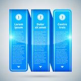 Blauw glanzend lint met drie verticale opties vector illustratie