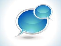 Blauw glanzend praatjepictogram Stock Afbeeldingen