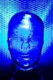 Blauw glas menselijk hoofd stock foto's
