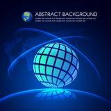 Blauw Globaal licht en kaart op donkerblauwe vectorachtergrond Stock Foto