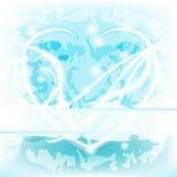Blauw gloeiend gevoelig Hart met tekstruimte Royalty-vrije Stock Fotografie