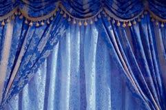 Blauw Gordijn royalty-vrije stock afbeeldingen