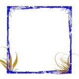 Blauw gouden frame grunge Stock Foto