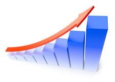 Blauw groeiend grafiek bedrijfssuccesconcept Stock Foto's