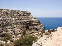 Blauw Grotgebied in Gozo, Malta Stock Afbeelding