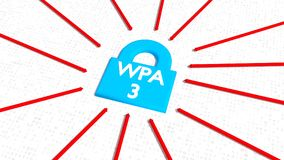 Blauw hangslot met het witte woord wpa3 en rode pijlen Royalty-vrije Stock Foto