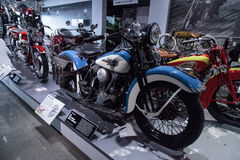 Blauw 1939 Harley-Davidson Model El Knucklehead Stock Afbeelding