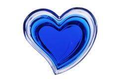 Blauw hart dat op witte achtergrond wordt geïsoleerda Stock Foto's