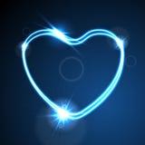 Blauw hart, gloeiende neoneffect abstracte achtergrond Stock Afbeeldingen