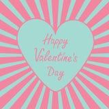 Blauw hart met zonnestraal. De gelukkige auto van de Valentijnskaartendag Stock Fotografie
