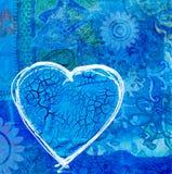 Blauw hart op collageachtergrond Royalty-vrije Stock Afbeeldingen