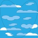 Blauw hart op de witte achtergrond van het wolkenpatroon royalty-vrije illustratie