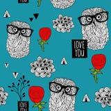 Blauw hemel naadloos patroon met slimme uilen en mooie rode rozen vector illustratie