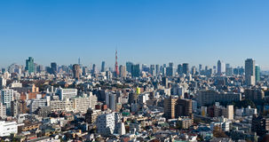 Blauw hemelpanorama over Tokyo van de binnenstad Royalty-vrije Stock Foto's