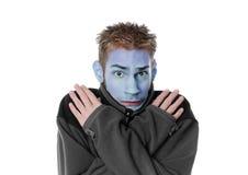 Blauw in het gezicht Stock Foto