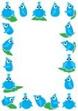 Blauw het Spelen van de Vogel Blad Frame_eps Stock Afbeelding