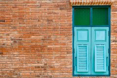 Blauw houten venster Stock Foto