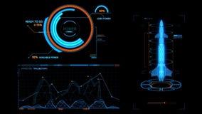 Blauw HUD Rocket Missile Interface Graphic Element stock videobeelden