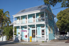Blauw huis in Key West Stock Foto's