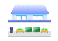 Blauw huisbeeldverhaal Stock Afbeelding