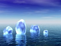 Blauw ijs in een oceaan Stock Fotografie