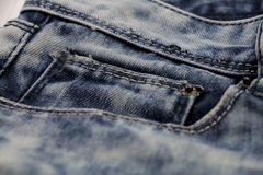Blauw Jean of blauw denim van industrieel Stock Foto