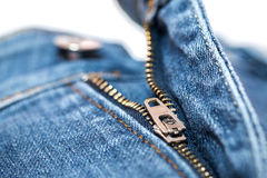 Blauw Jean Zipper Stock Foto