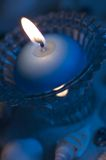 Blauw kaarslicht Stock Afbeeldingen