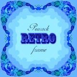 Blauw kader met geschilderde pauwen en retro etiket Stock Fotografie