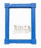 Blauw kader op een witte muur Royalty-vrije Stock Foto's