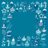 Blauw Kerstmispatroon met Kerstmisklokken, sneeuwvlokken, Vrolijke Kerstmis van de suikergoedhulst heel en Gelukkig Nieuwjaar royalty-vrije illustratie