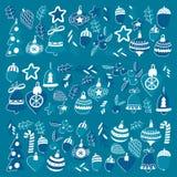 Blauw Kerstmispatroon met Kerstmisklokken, sneeuwvlokken, Vrolijke Kerstmis van de suikergoedhulst heel en Gelukkig Nieuwjaar stock illustratie