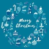 Blauw Kerstmispatroon met Kerstmisklokken, sneeuwvlokken, Vrolijke Kerstmis van de suikergoedhulst heel en Gelukkig Nieuwjaar vector illustratie